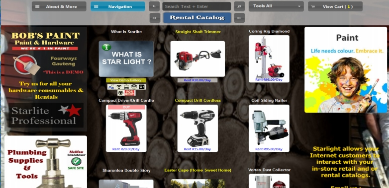 Internet enabled rentals software for costume, tools
