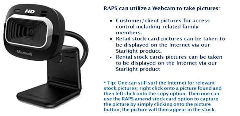 Use the webcam to take pictures of customers and stockcards for the Internet